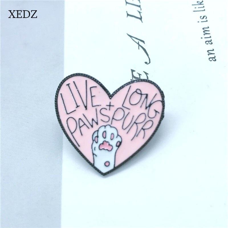 XEDZ vivre longue cliquet amour broche enfants mignon rose amour chat griffe badge mode denim vêtements sac à dos pendentif bijoux cadeau
