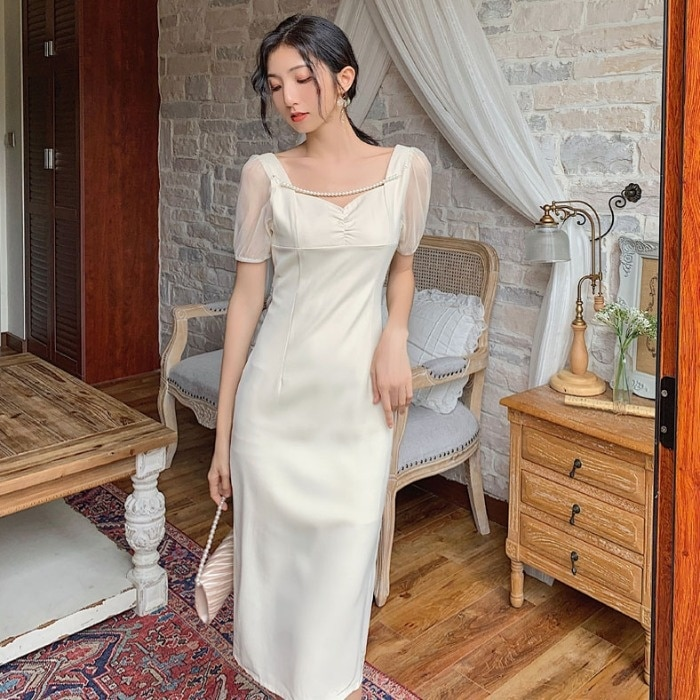 French Style V-neck Puff Sleeve Waist Slimming Dress for Women 2021 New Slimming Dress Bridesmaid Dr