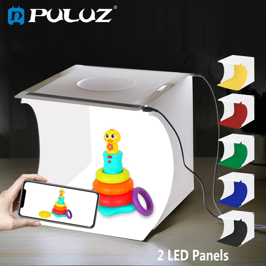PULUZ 2LED Lightbox Light box Mini Photo Studio Box 1100LM Photography Shooting Tent Kit &6 Color Backdrops