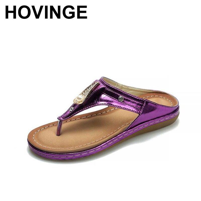 HOVINGE  Summer Leather Flip Flops Outdoor Fashion Slippers Women Non-Slip Casual Flat Shoes Women Beach Flip Flops Big