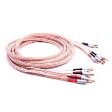 Paire 12TC câble haut-parleur Hifi, 2 fiche banane à 4 Jack banane câble haut-parleur biwire, fil haut-parleur OCC haut de gamme
