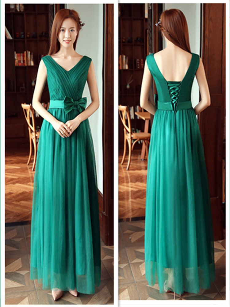 YNHS-90#Long green bridesmaid dress Party Prom Dresses graduation gown Boat Neck