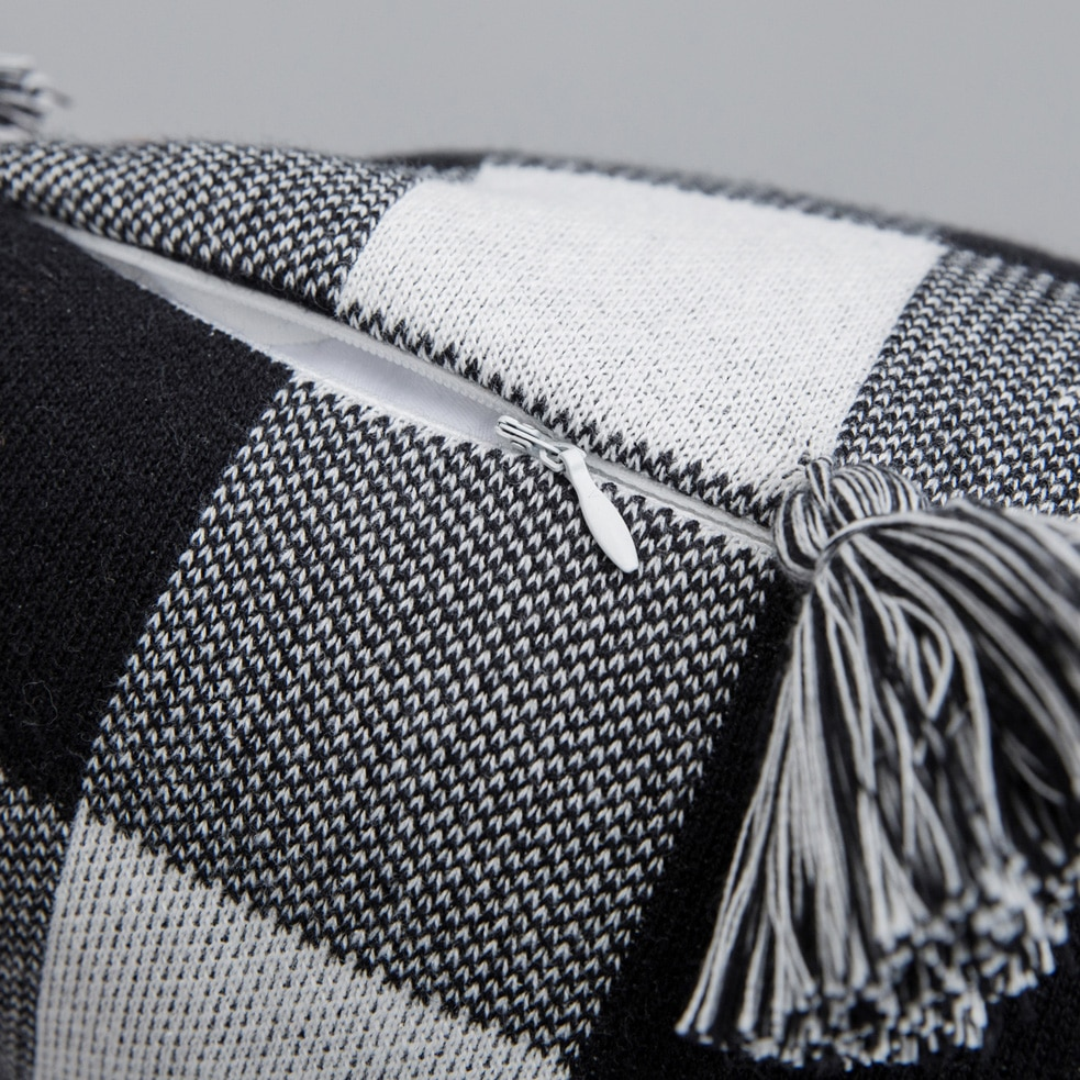 YIRUIO Three Color Plaid Tassel Cushion Cover 45*45 CM Mix Knitted Jacquard Nordic Style Sofa Bed Decorative Pillow Case Cover