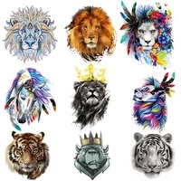 new thermal stickers for clothes iron on lion animal patches heat transfer on clothes crown animal t shirt stickers