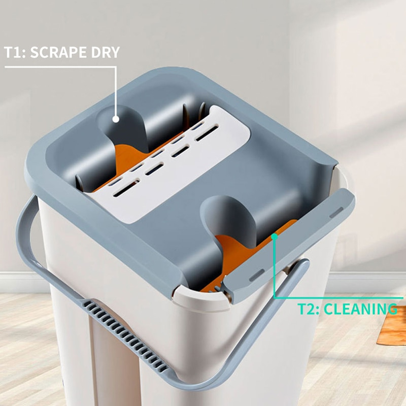 Microfiber Pads Cloth Hand Free Wringing House Home Floor Cleaning Mops Flat Squeeze Magic Automatic Mop And Bucket Set enlarge