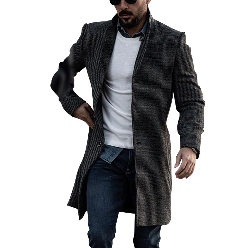 Woolen Coat Trench Windbreaker 2021 Mens Korean Style Jacket Men's Slim Fit Windbreak Long Coat Men