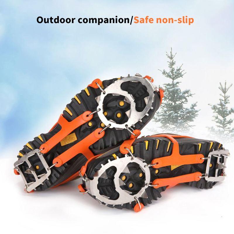 1 par 18 studs anti-skid gelo pinça pico inverno escalada antiderrapante neve picos apertos grampos sobre manganês sapatos de aço cobre