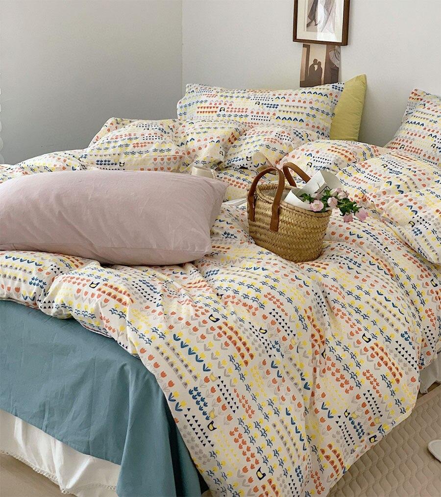 الأوروبية الأمريكية الرعوية زهرة طقم سرير ، الأصفر القطن التوأم كامل الملكة الملك المنسوجات المنزلية ملاءات كيس وسادة غطاء لحاف