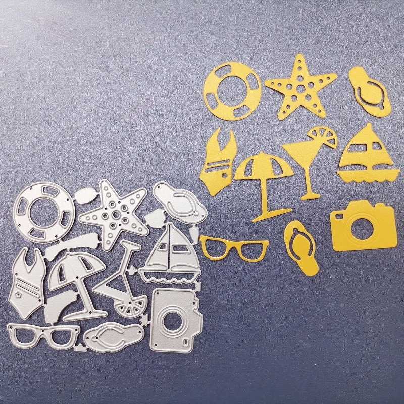 Cutting Dies Metal Beach play equipment decoration  steel frames DIY Scrap booking Photo Album Embossing paper Cards7.8*8.7cm
