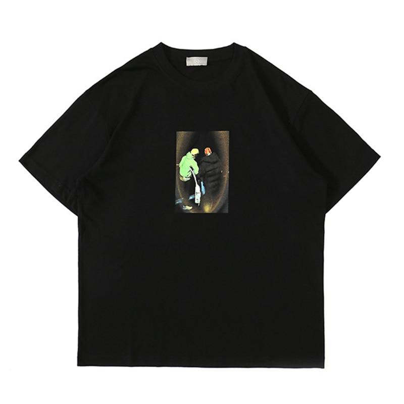 ICPANS Printed Mens Short Sleeved Tshirt  Trendy Hip-hop Character Summer 2020 90% Cotton Figure Solid Top T Shirts M, L, XL