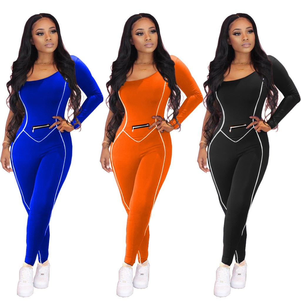 One-Shoulder Long Sleeved Solid Color New Jumpsuit Sports Casual Rompers European and American Women Outfits 2020 new women s jumpsuit european and american rompers fashion casual solid color plain zip mask jumpsuit