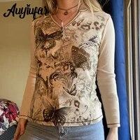 auyiufar vintage floral print fairy grunge tops button v neck aesthetic goblincore tees slim autumn women t shirts renaissance