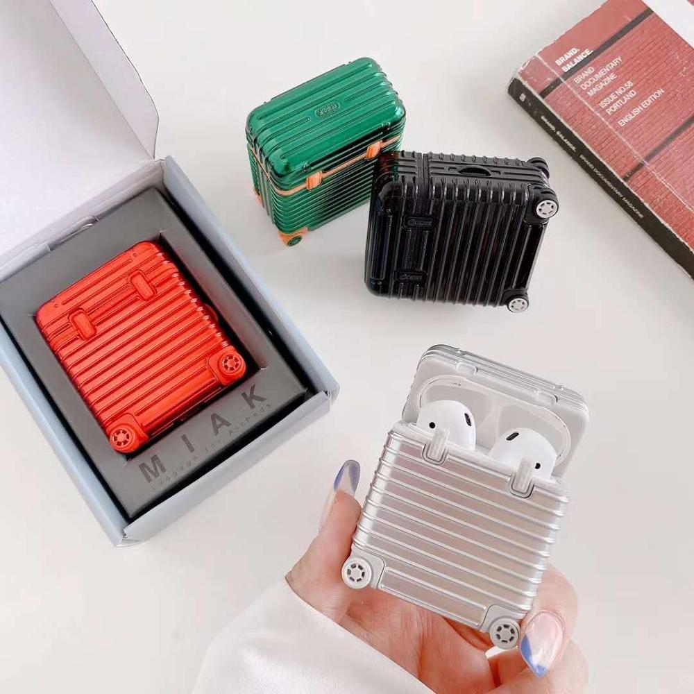 Luxo chapeamento simulação mala caso colorido para airpods 1 2 caixa de carregamento duro sem fio bluetooth fone de ouvido capa protetora