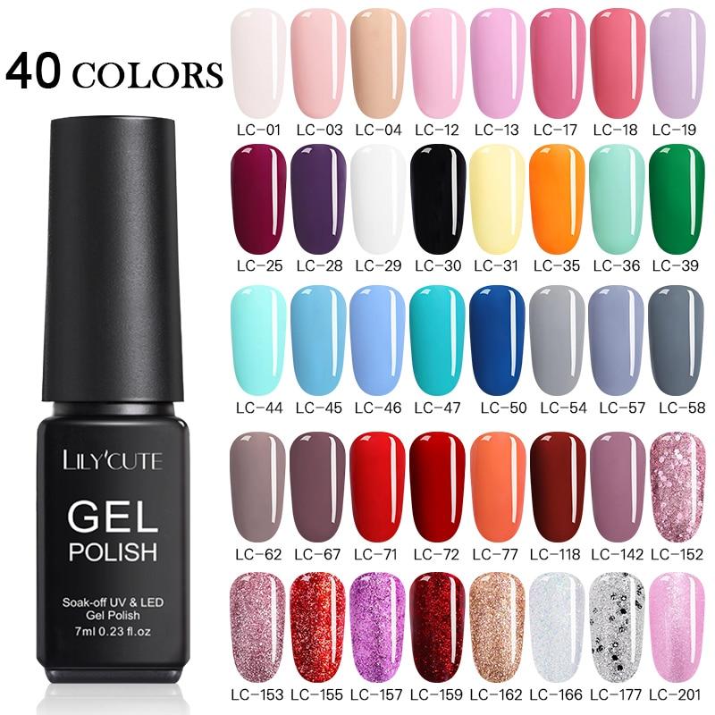 LILYCUTE 20/40 unids/set esmalte de uñas de Gel UV de Multi-Color de la serie Semi permanente de larga duración Led Gel para decoración de uñas barniz