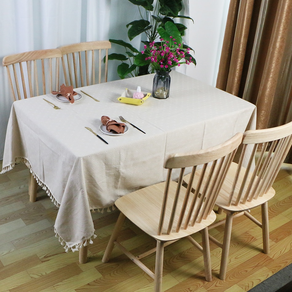 Small Flower Pattern Heavy Polyester Fabric Tablecloth Table Linen Cover Cloth for Kitchen Table Dinner Restaurant Wedding Decor