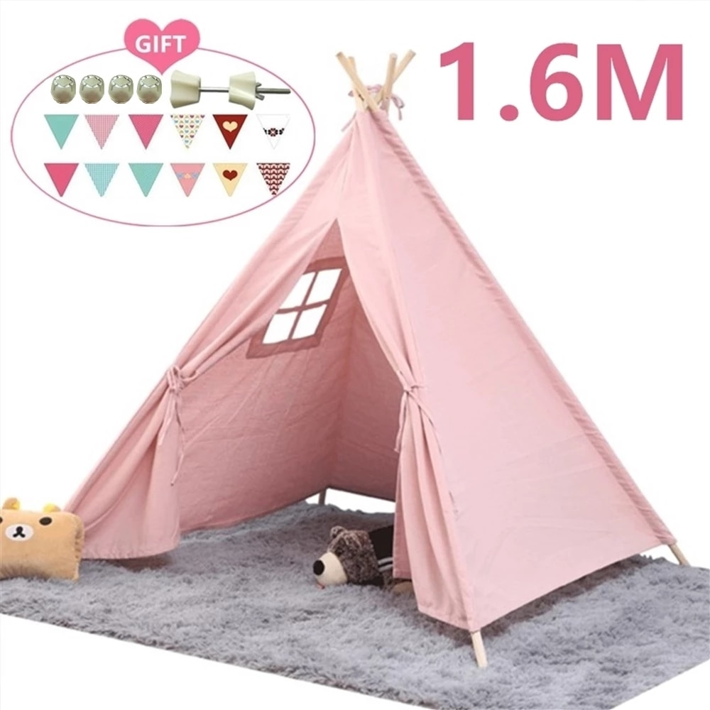 1.6M Portable Kids Tent Play House For Children Tent Cabana Tipi Infantil Baby Teepee Tents Castle LED Lights/Carpet/Decoration недорого