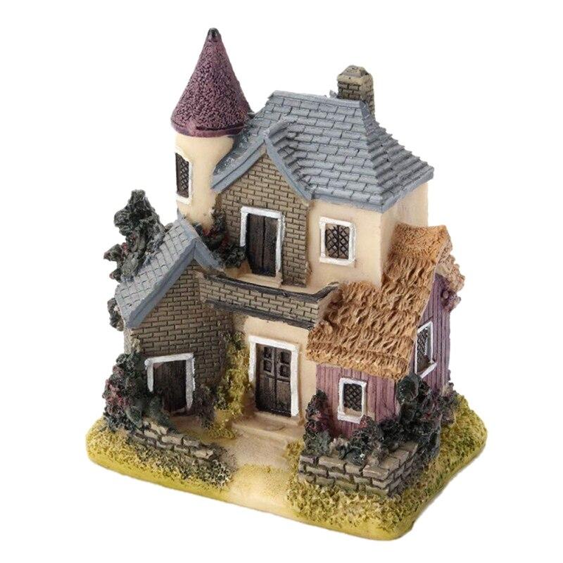Venda quente bonito mini casa de resina em miniatura casa de fadas jardim paisagem casa decoração do jardim artesanato resina 4 estilos cor correu