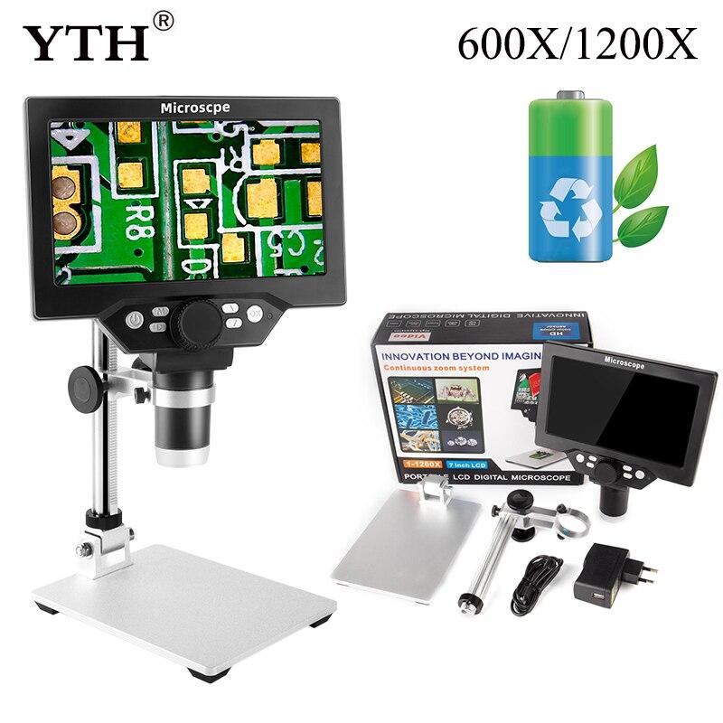 مجهر رقمي 1200X مجهر فيديو إلكتروني مدمج بطارية 7 بوصة LCD لحام مجهر إصلاح الهاتف المكبر