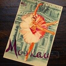 Affiche murale de danse pour fille moscou   Élégante danse Ballet, voyage paysage, communisme, rétro Vintage affiche toile Art maison, décor