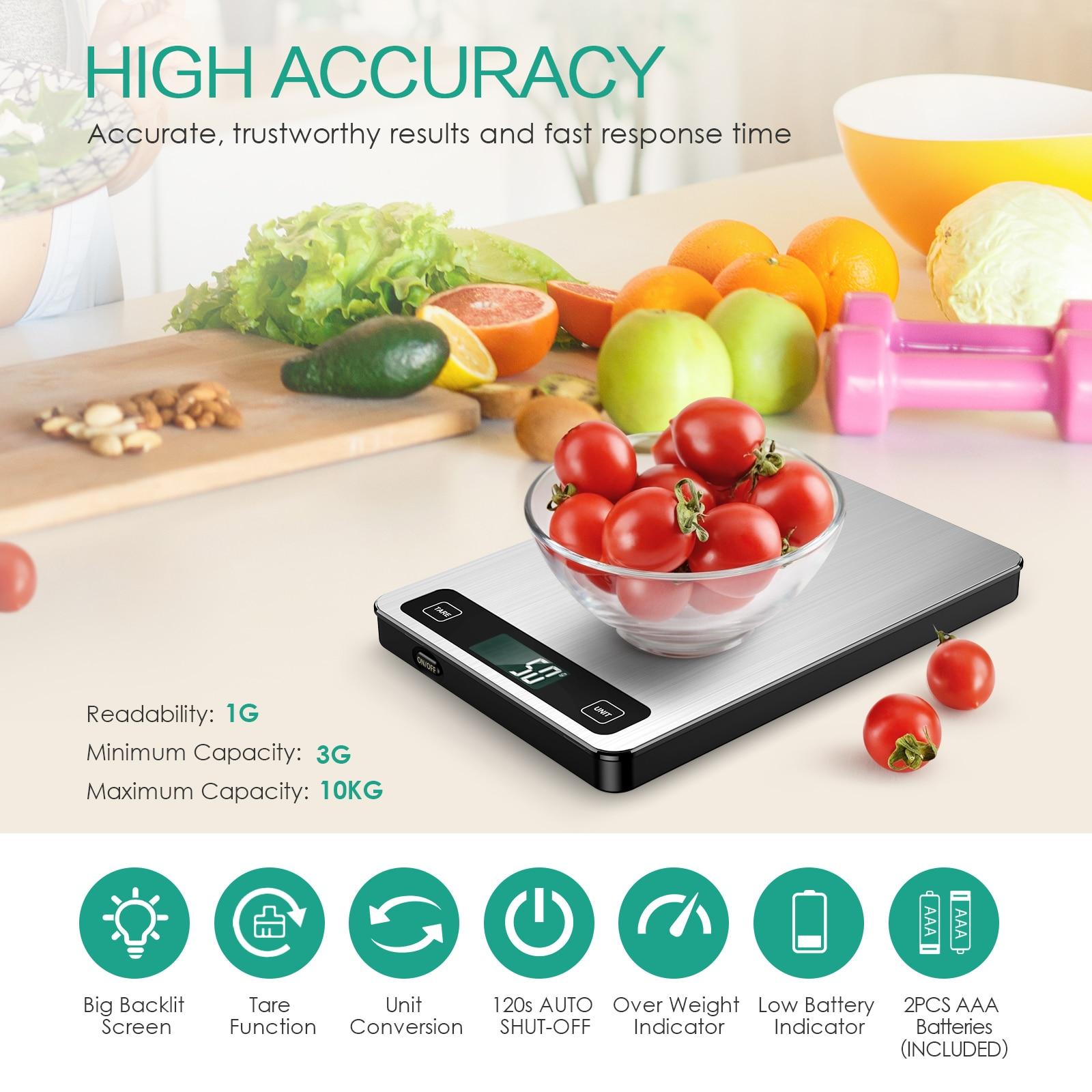 10 كجم/1 جرام المطبخ مقياس الفولاذ المقاوم للصدأ مقياس ميزان الغذاء النظام الغذائي البريدي التوازن قياس LCD ميزان إلكتروني