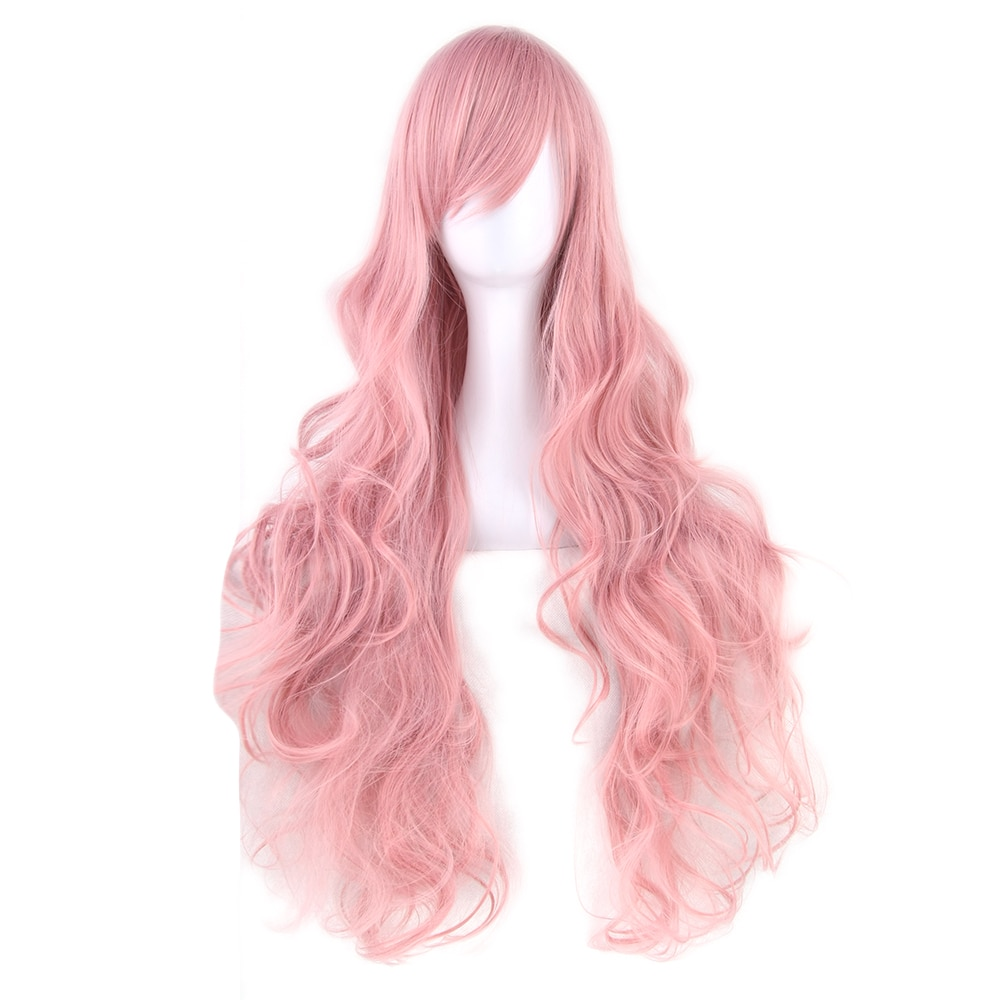 Soowee 32inch Synthetic Hair Long Curly Cosplay Wig High Temperature Fiber Pink Green Grey Costume Party Hair Wigs