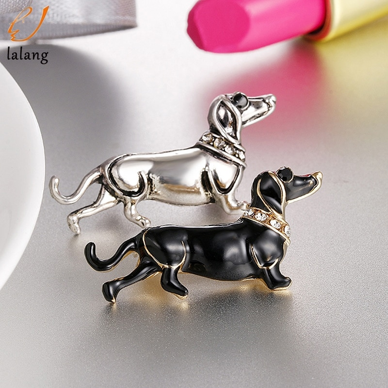 Lindo esmalte de moda perro prendedor de Animal broche para los hombres y las mujeres los niños joyería de personalidad