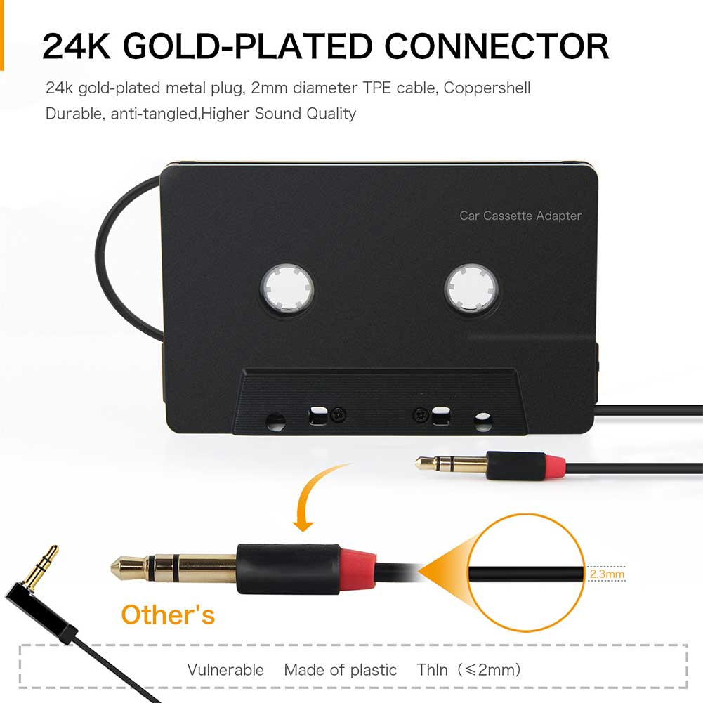 Mini adaptador de casete de entrada de 3,5mm estéreo Bluetooth tipo C ABS cuatro canales de Audio Aux Anti Tangled Smartphone Universal