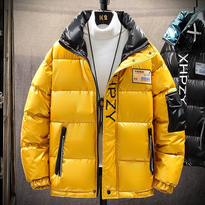 2021 High Quality Printing Jacket Brand Clothing Casual Warm Hooded Collar Coats Winter Jackets PARKAS Men's Windbreakers