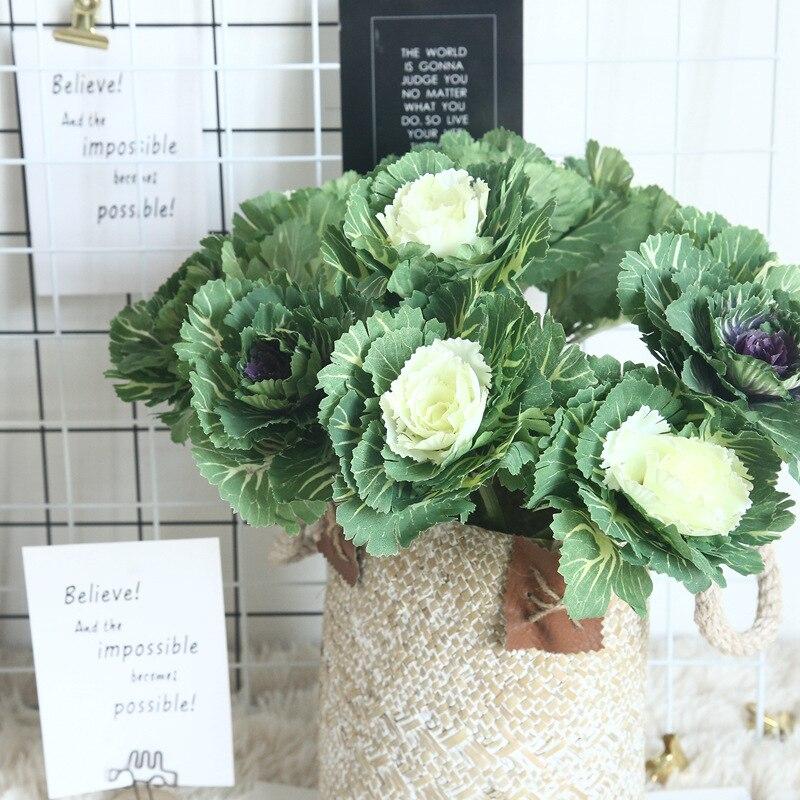 Flor Artificial olivo plato DIY repollo flor tela flor falsa rama boda decoración del hogar