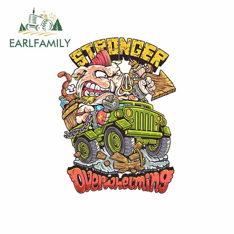 Earlfamily, 13cm x 10,2 cm para conducir, pegatinas de coche de cerdo, pegatinas creativas de personalidad de Anime impermeables, adecuadas para GTR EVO