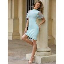 Vente en gros 2020 été robe de femme bleu clair à manches courtes mode Mini célébrité cocktail robe de soirée