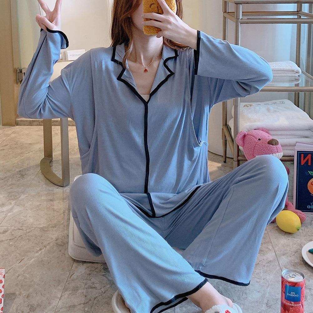 Maternity and Nursing Top and Pant Set Cotton Nursing Pajamas Pregnancy Nightwear Maternity and Nursing Set Womens Loungewear