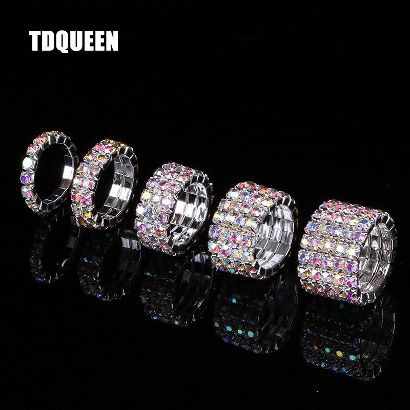 Женские эластичные кольца TDQUEEN, 1-5 рядов, камень-кристалл, Аб, посеребренное покрытие