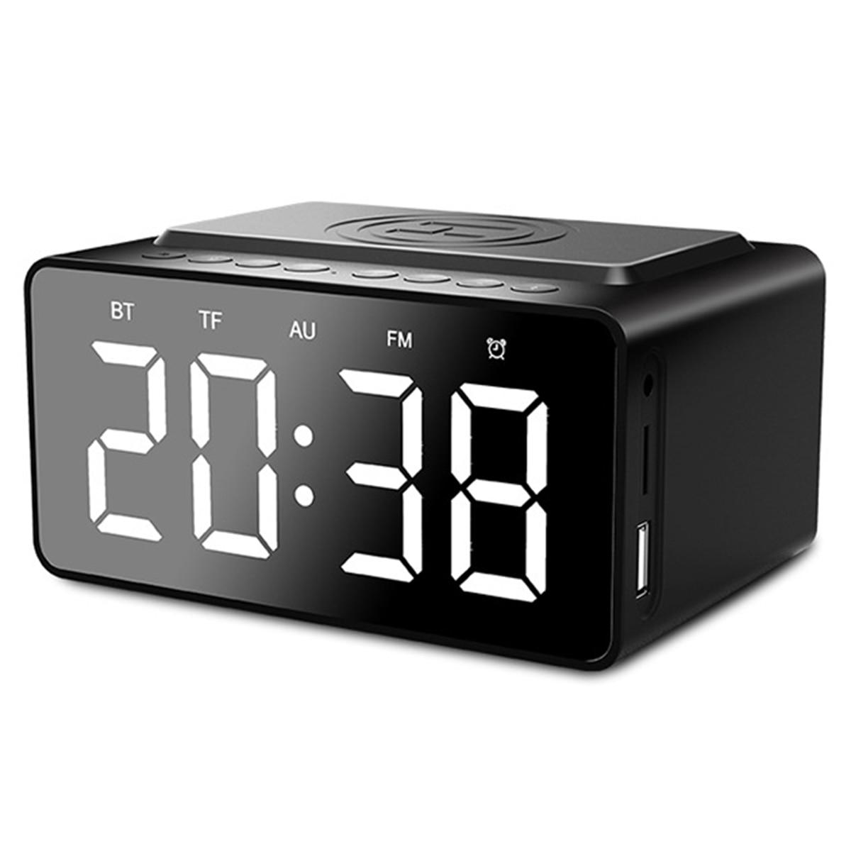 Altavoz 3 en 1 inalámbrico BT, reloj despertador Dual Digital con modo de repetición, soporta carga inalámbrica QI con Cable de Audio de 3,5mm de carga