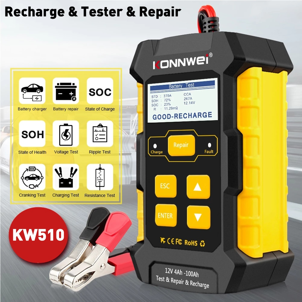 KONNWEI KW510 Car Battery Charger and Tester 12V Battery Maintainer for Cranking and Charging Systems