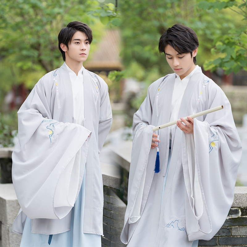 Daily Chinese Style Hanfu Ancient Costume Han Style Clothing Big Sleeve Shirt Handsome Scholar Student Class Costumes Cosplay