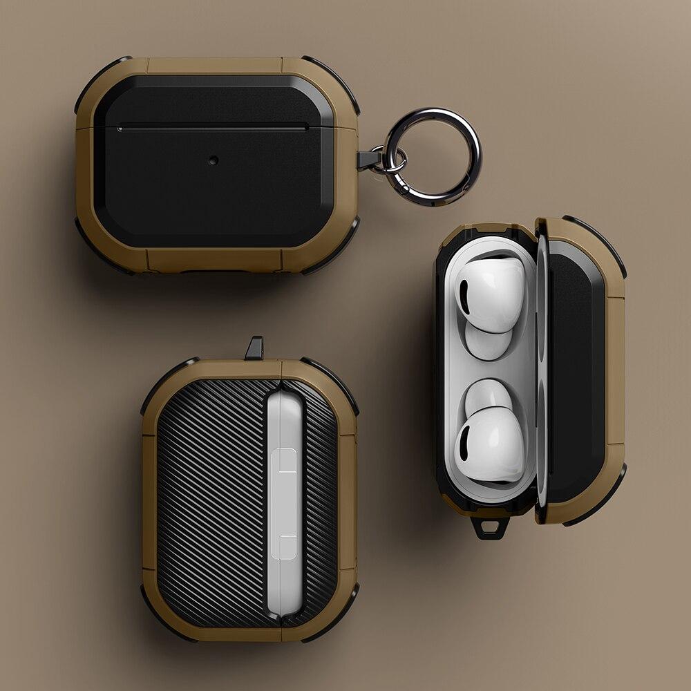 Чехол для AirPods pro, чехол из ТПУ и поликарбоната для Apple Airpods 2, роскошный черный чехол для наушников, аксессуары для наушников, чехол с брелоком чехол