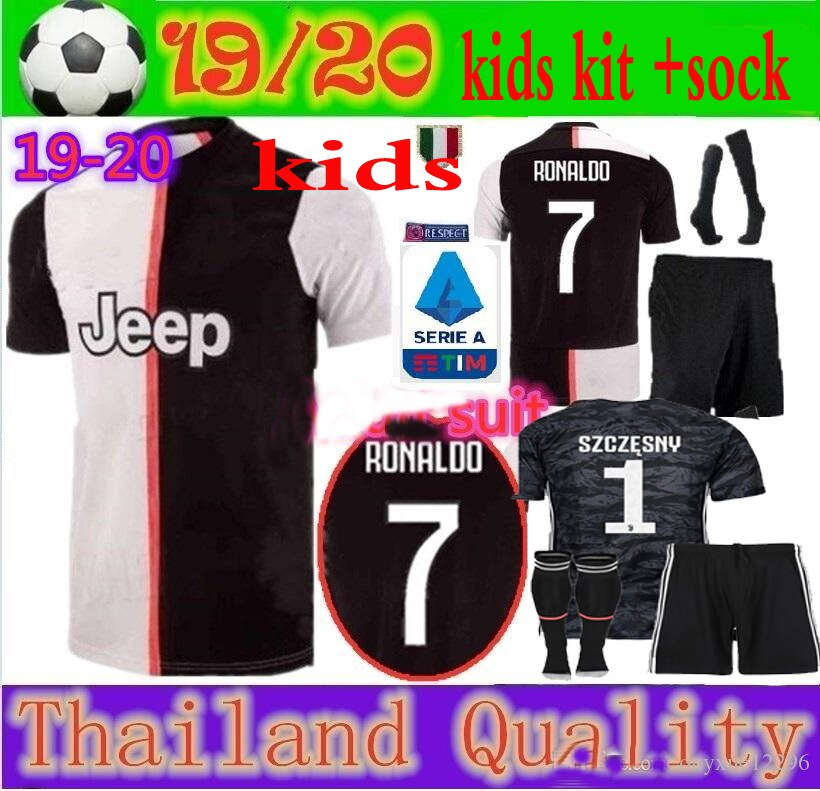 ¡Envío gratis de 2019/20! ¡Nuevo! kit de juvees para niños + calcetines Jersey de fútbol Ronaldo 19 20 para niños, traje de fútbol, camisa, envío gratis