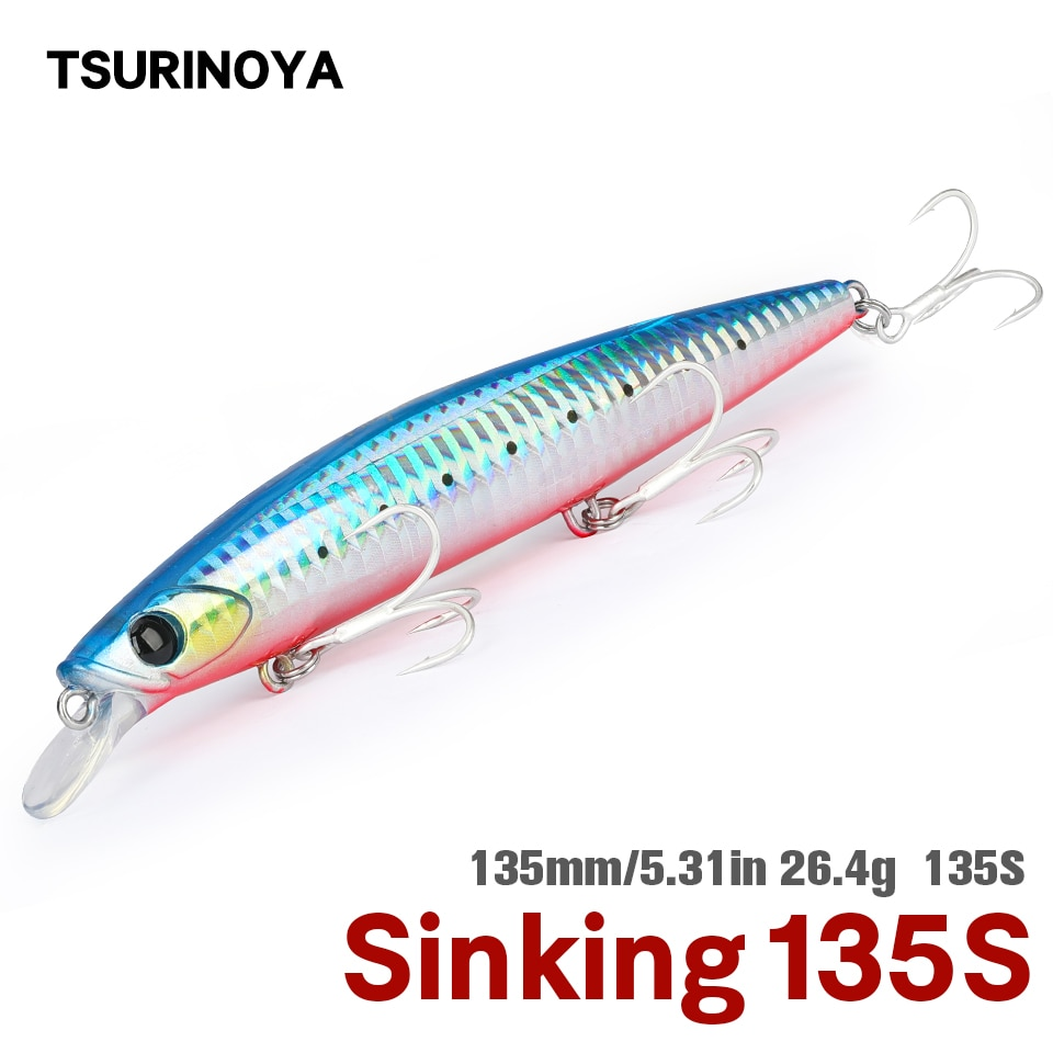 TSURINOYA 135S Ultra Long Casting Saltwater Sinking Minnow Sea Fishing Lure BAYONET 135mm 26.4g Seabass Mackerel Hard Bait
