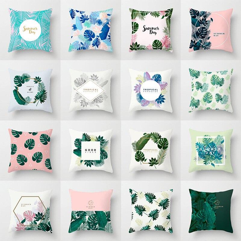 Тропический чехол из полиэстера, декоративная подушка, чехол с зелеными листьями, накидка на подушку, чехол, мягкая подушка чехол