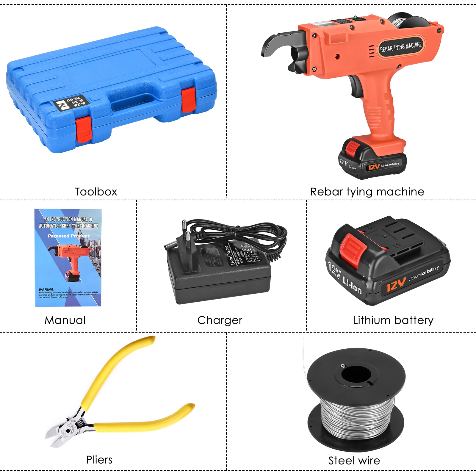 Rebar Tying Machine Automatic Rebar Tying Tool Handheld Rebar Tying Machine With 2 Batteries Used In Construction Projects enlarge