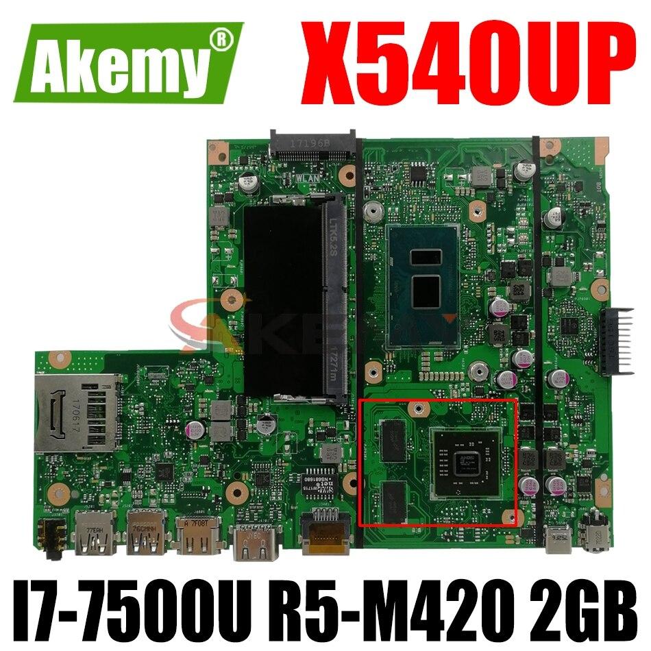 AKEMY X540UP اللوحة لابتوب ASUS VivoBook R540UP R540U X540U F540U اللوحة الأصلية 8GB-RAM I7-7500U R5-M420 2GB