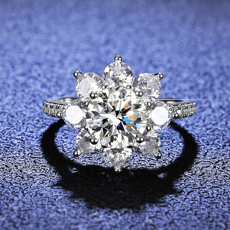 Moissanite Diamond Ring Woman 925 Sterling Silver Sunflower Flower Shape 2 Carats D Color Engagement Wedding Jewelry