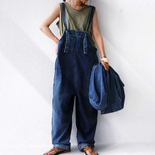 2021 Summer New Women's Cowboy Jumpsuit Japanese Style Solid Color Casual Loose Simplicity Pocket Ko