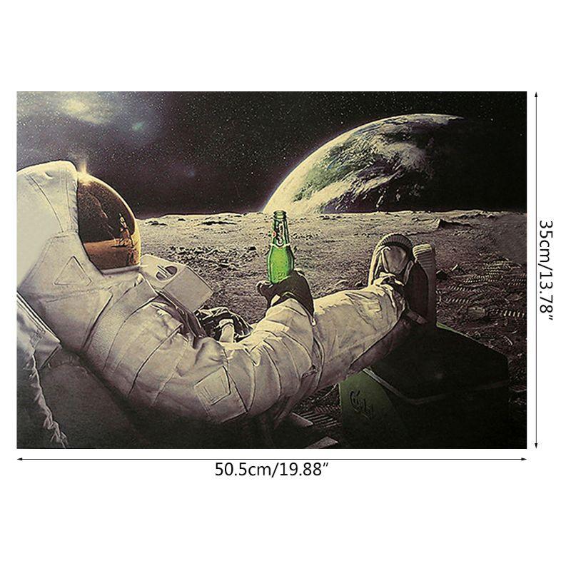 Astronaut auf die Mond Entspannende mit Bier Retro Fantasie Kraft Papier Poster Home Decor Kunst Wand Aufkleber Paster