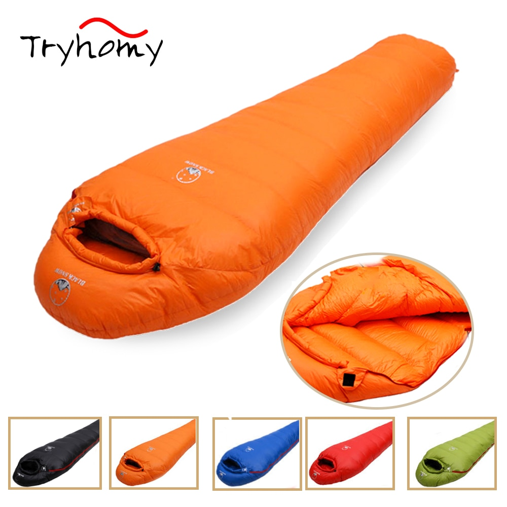 Tryhomy Camping Sleeping Bag Goose Down Filled Adult Mummy Style Sleeping Bag Lightweight Warm For Outdoor Traveling Hiking