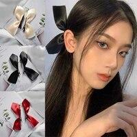 2pcs vintage bowknot side hairpin black white ribbon hair bows clips cute girls barrettes headdress hair accessories for women