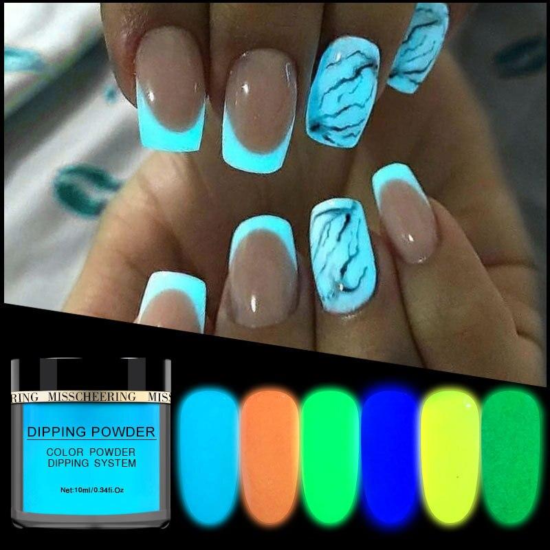 Nuevo polvo de fósforo de inmersión para recubrimiento de esmalte de uñas, pigmento brillante en la oscuridad luz colorida en la noche