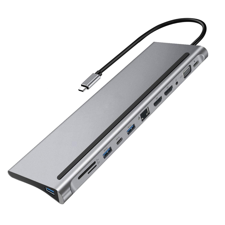 محطة إرساء 12 في 1 من النوع C 4K مزدوجة HDMI RJ45 جيجابت Lan PD محطات إرساء الكمبيوتر المحمول عالية الجودة