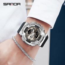 [Dual Display Dial] SANDA 2022 Hot Sale Flagship Male Electronic Watch Muntifunctional Waterproof Di
